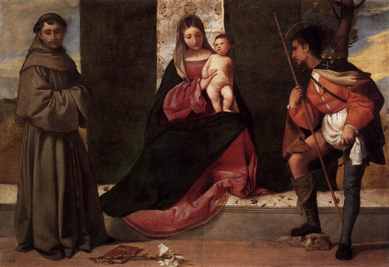 'Madonna and Child with St. Anthony and St. Roch', Oil by Giorgione - Giorgio Barbarelli (1477-1510, Italy)