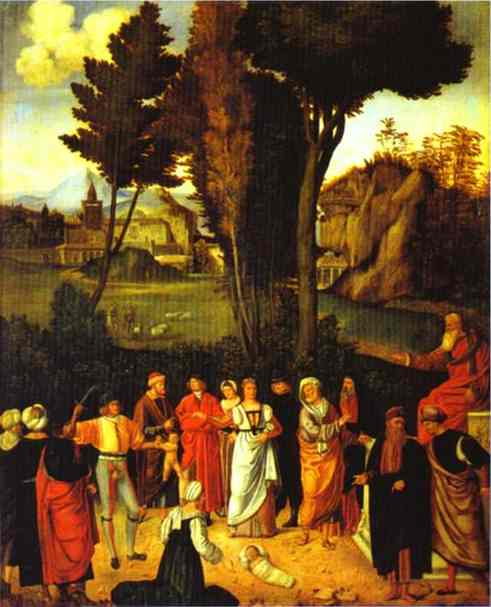 'The Judgment of Solomon', Oil by Giorgione - Giorgio Barbarelli (1477-1510, Italy)