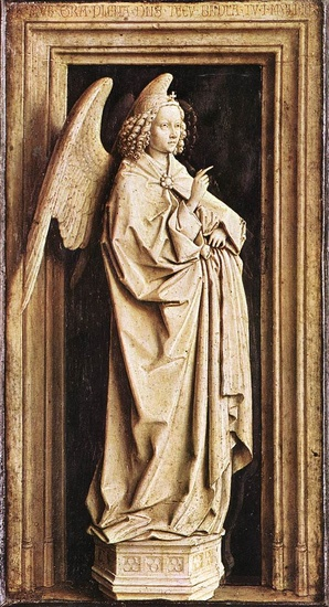 'Annunciation', Sculpture by Jan Van Eyck (1395-1441, Netherlands)