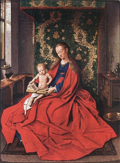 'Madonna with the Child Reading', Oil by Jan Van Eyck (1395-1441, Netherlands)