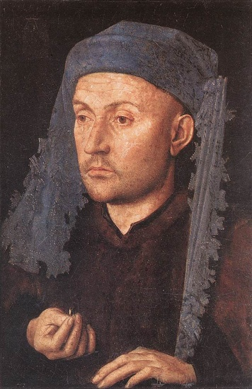 'Portrait of a Goldsmith (Man with Ring)', Oil by Jan Van Eyck (1395-1441, Netherlands)