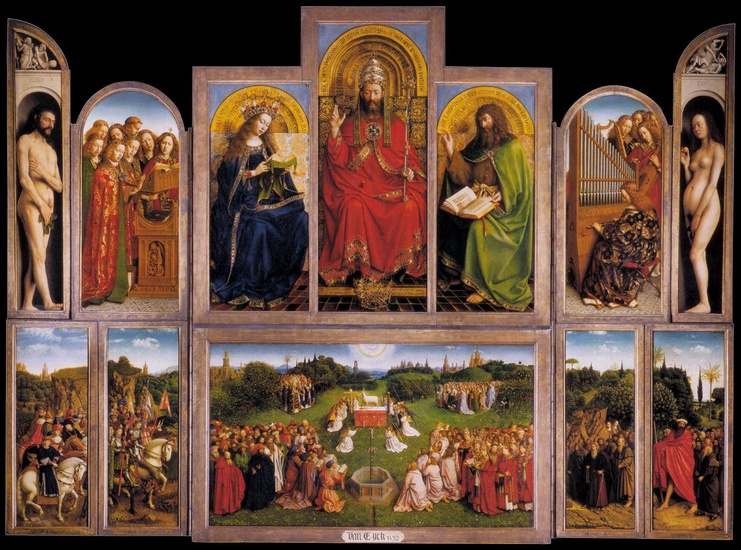 'The Ghent Altarpiece (wings open)', Oil by Jan Van Eyck (1395-1441, Netherlands)