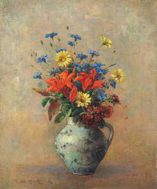 vase de fleurs oil by odilon redon 1840 1916 france. Black Bedroom Furniture Sets. Home Design Ideas