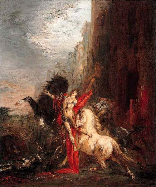 'Diomedes devorado por sus caballos (Diomedes devoured by his horses)', Oil by Gustave Moreau (1826-1898, France)