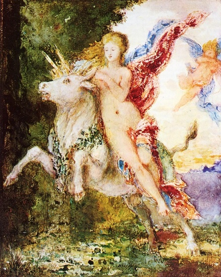 'Europa and the Bull', Oil by Gustave Moreau (1826-1898, France)