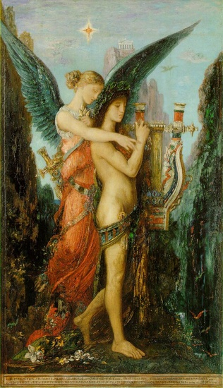 'Hesiod and the Muse', Oil by Gustave Moreau (1826-1898, France)