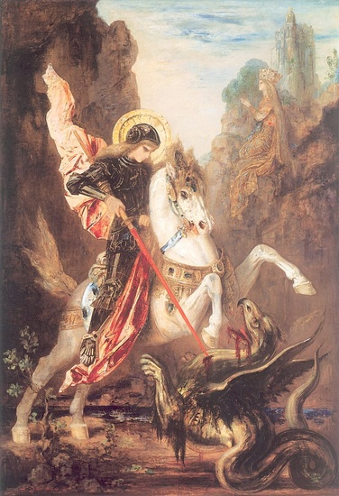 'Saint George and the Dragon', Oil by Gustave Moreau (1826-1898, France)