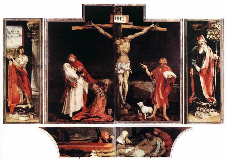 'Isenheim Altarpiece (first view)', Oil by Matthias Grünewald (1470-1528, Germany)