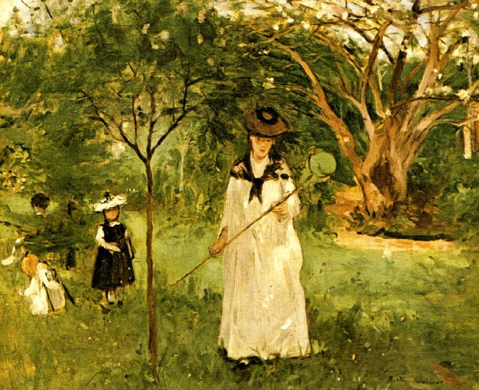 'Butterfly Hunt', Oil by Berthe Morisot (1841-1895, France)