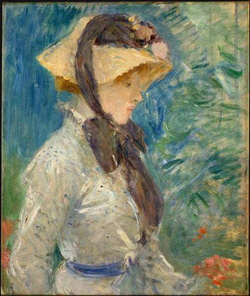 'Young Woman with a Straw Hat', Oil by Berthe Morisot (1841-1895, France)