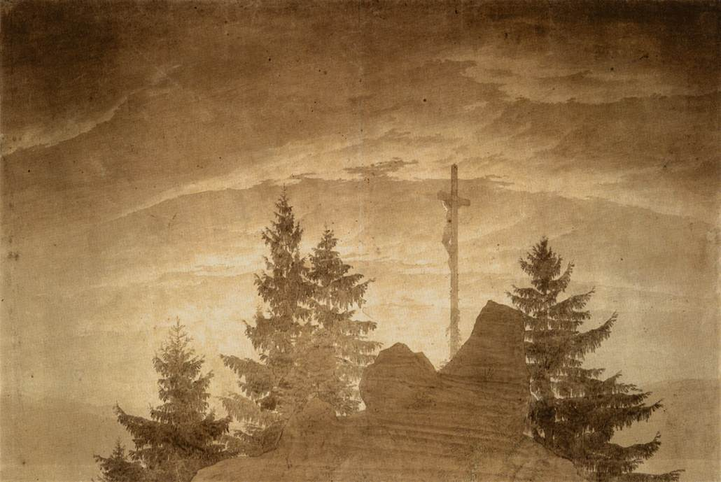 'Cross in the Mountains', Oil by Caspar David Friedrich (1774-1840, Germany)
