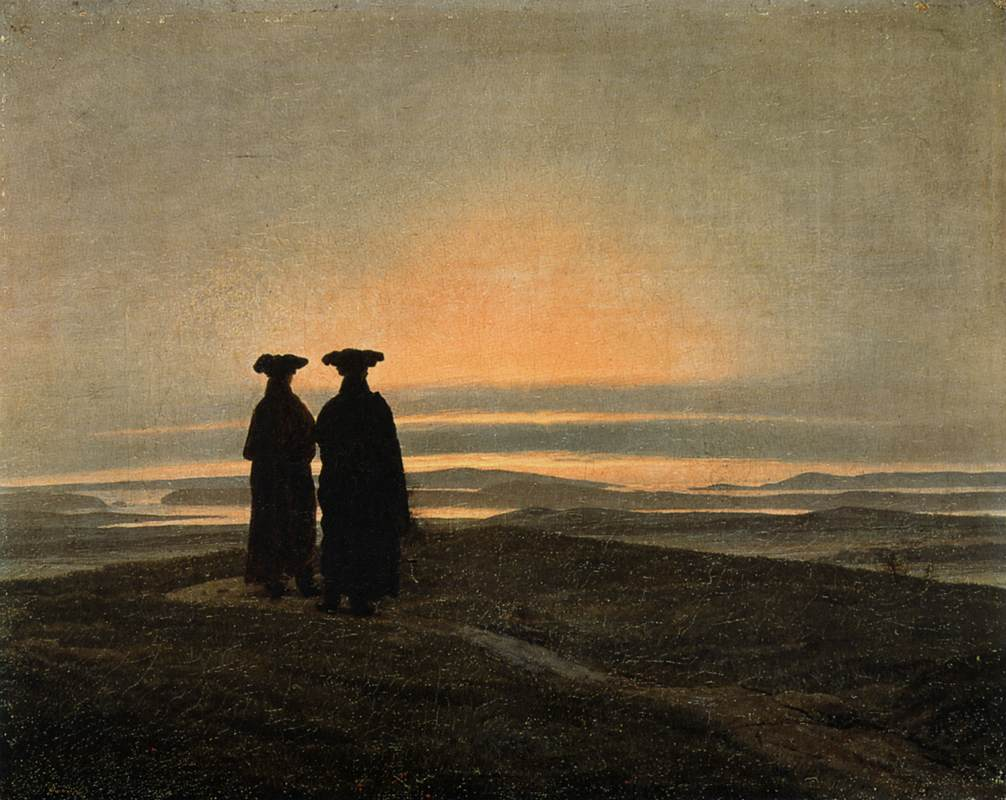 Evening Landscape with Two Men by Caspar David Friedrich (1774-1840, Germany) | Famous Paintings Reproductions | WahooArt.com