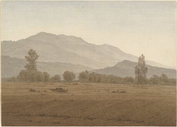 'New Moon above the Riesengebirge Mountains', Oil by Caspar David Friedrich (1774-1840, Germany)