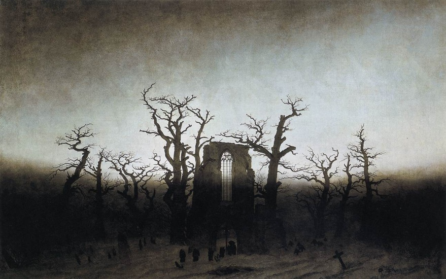 'The Abbey in the Oakwood', Oil by Caspar David Friedrich (1774-1840, Germany)