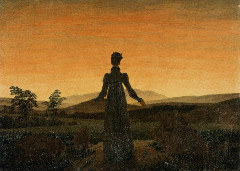 'Woman before the Rising Sun (Woman before the Setting Sun)', Oil by Caspar David Friedrich (1774-1840, Germany)