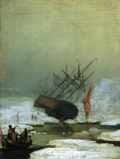 'Wreck in the Sea of Ice', Oil by Caspar David Friedrich (1774-1840, Germany)