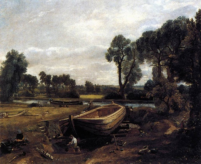 'Boat-building near Flatford Mill', Oil by John Constable (1776-1837, United Kingdom)