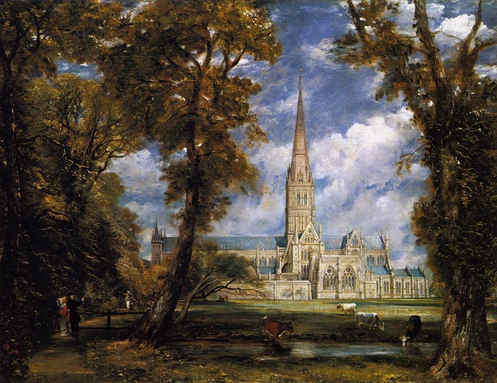 'Salisbury Cathedral from the Bishop's Grounds', Oil by John Constable (1776-1837, United Kingdom)