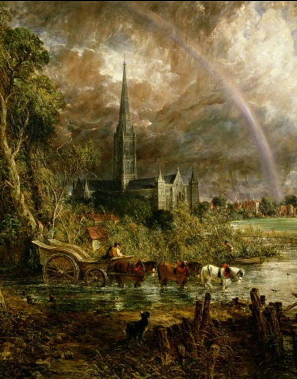 'Salisbury Cathedral from the Meadows', Oil by John Constable (1776-1837, United Kingdom)