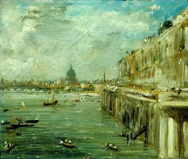 'Somerset House Terrace and the Thames A View from the North End of Waterloo Bridge with St. Paul's Cathedral in the distance', Oil by John Constable (1776-1837, United Kingdom)
