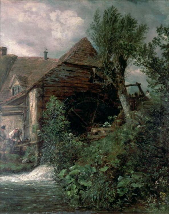 'Watermill at Gillingham, Dorset', Oil by John Constable (1776-1837, United Kingdom)