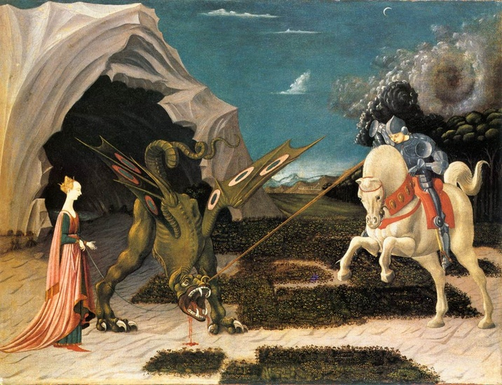 'St. George and the Dragon', Oil by Paolo Uccello (1397-1475, Italy)