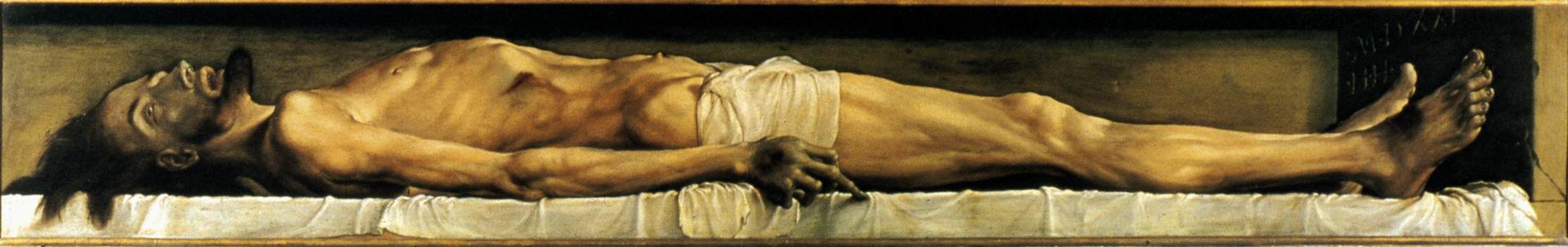 'The Body of the Dead Christ in the Tomb', Oil by Hans Holbein The Younger (1497-1543, Germany)