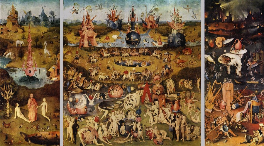Triptych Of Garden Of Earthly Delights, Oil By Hieronymus Bosch (1450 1516,  Netherlands)