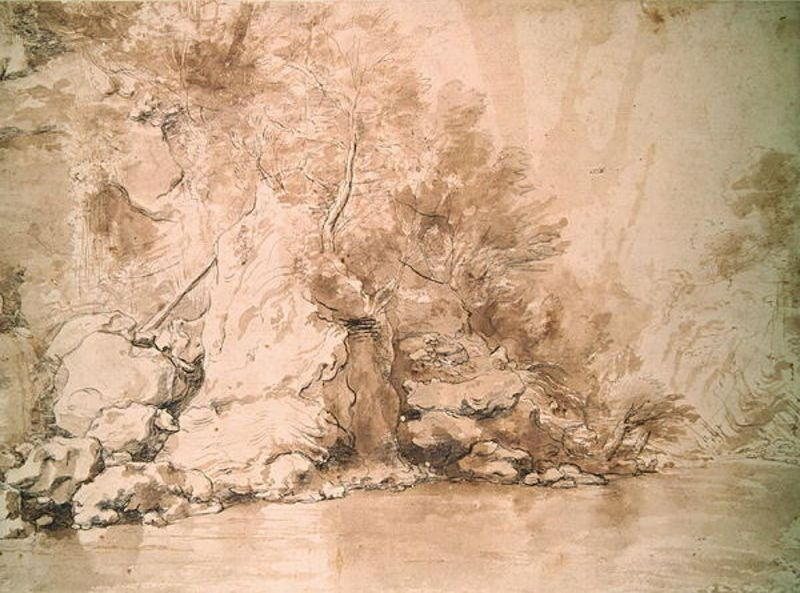 A Study for a landscape by Claude Lorrain (1600-1682, France) | Museum Quality Reproductions | WahooArt.com