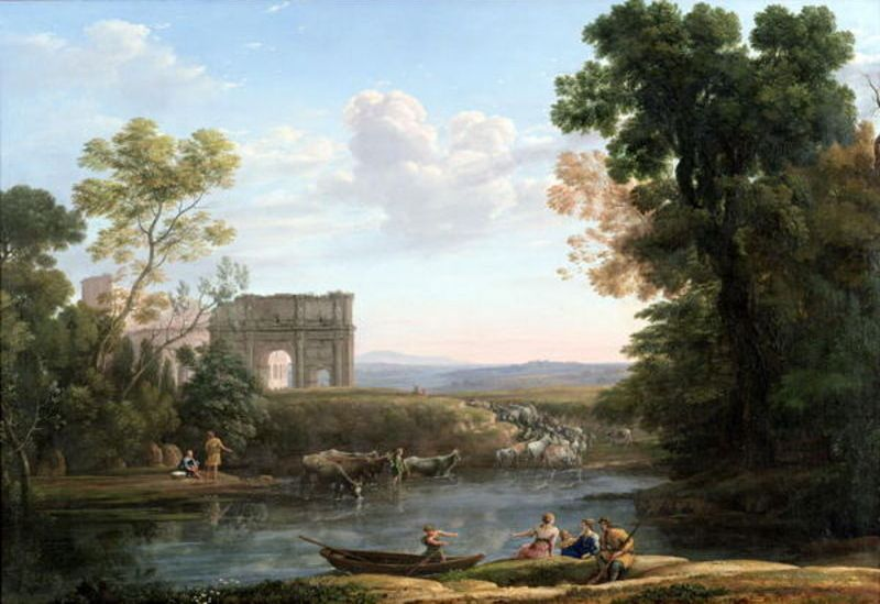 'Evening', Oil by Claude Lorrain (1600-1682, France)