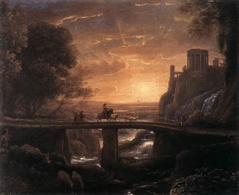 'Imaginary View of Tivoli', Oil by Claude Lorrain (1600-1682, France)