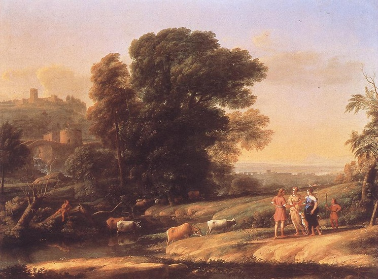 Landscape with Cephalus and Procris Reunited by Diana by Claude Lorrain (1600-1682, France) | Art Reproduction | WahooArt.com