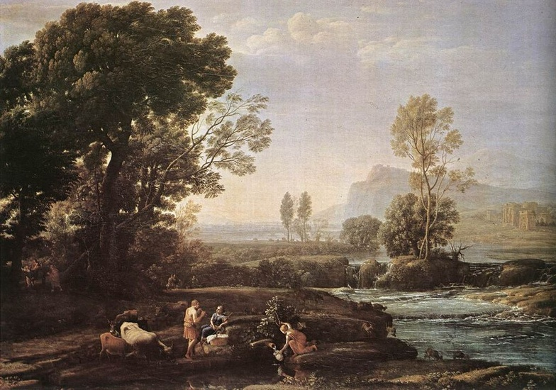 'Landscape with Rest in Flight to Egypt', Oil by Claude Lorrain (1600-1682, France)