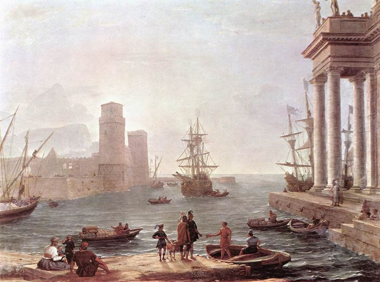 'Port Scene with the Departure of Ulysses from the Land of the Feaci', Oil by Claude Lorrain (1600-1682, France)