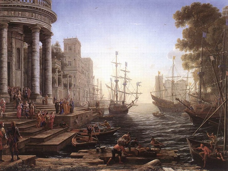'Port Scene with the Embarkation of St Ursula', Oil by Claude Lorrain (1600-1682, France)
