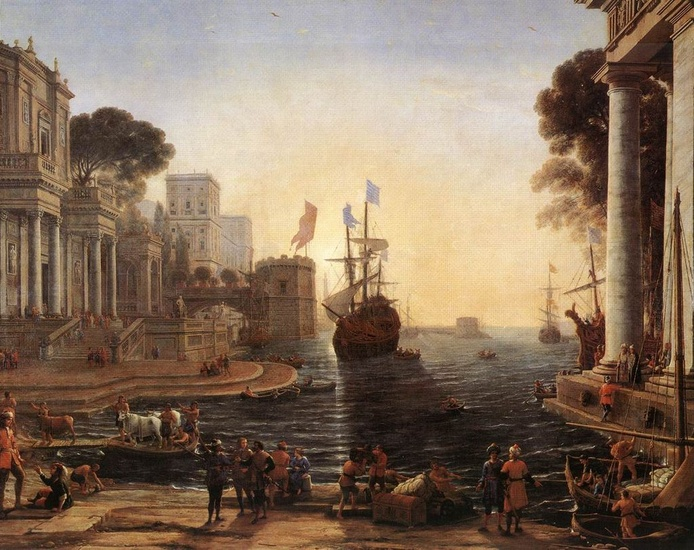 'Ulysses Returns Chryseis to her Father', Oil by Claude Lorrain (1600-1682, France)