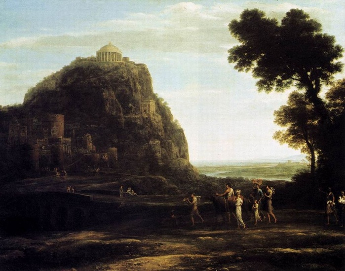 'View of Delphi', Oil by Claude Lorrain (1600-1682, France)