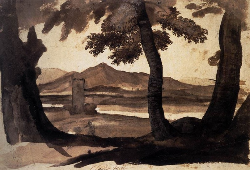 'View of the Campagna', Oil by Claude Lorrain (1600-1682, France)