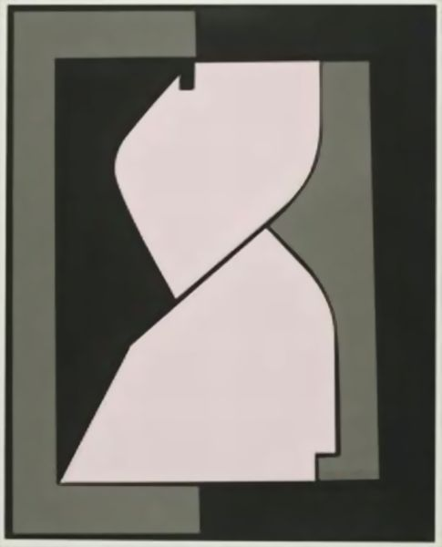 'Composition with Abstract Figure', Oil by Victor Vasarely (1906-1997, Hungary)