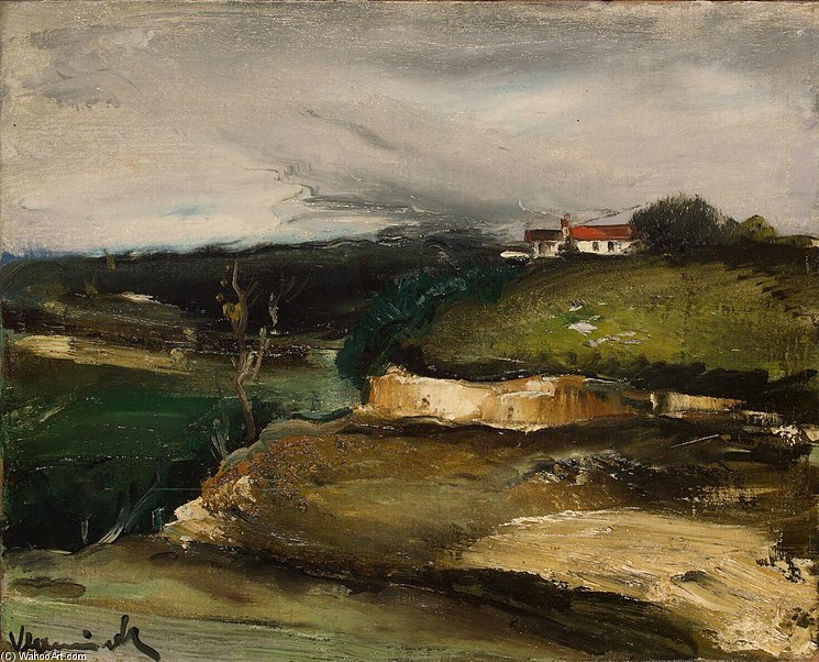 'Landscape with a House on the Hill', Oil by Maurice De Vlaminck (1876-1958, France)