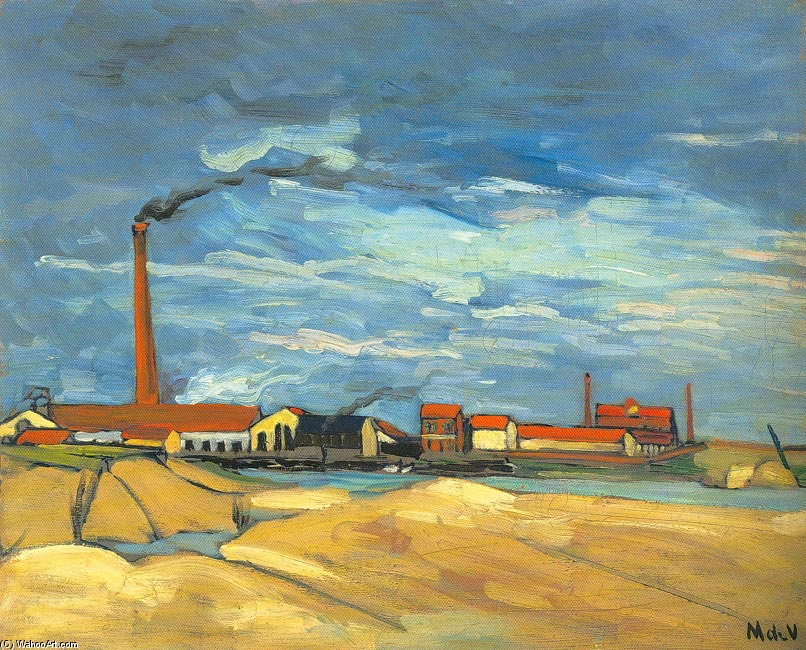'The Factory', Oil by Maurice De Vlaminck (1876-1958, France)