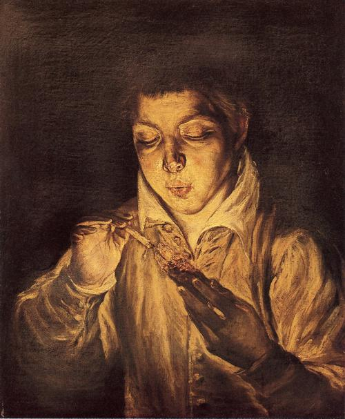 'Boy Lighting a Candle (Boy Blowing on an Ember)', Oil by El Greco - Dominikos Theotokopoulos (1541-1614, Spain)