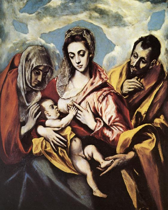 'Holy Family with St. Anne', Oil by El Greco - Dominikos Theotokopoulos (1541-1614, Spain)