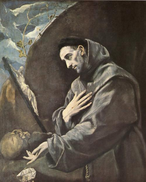 'St. Francis in Meditation', Oil by El Greco - Dominikos Theotokopoulos (1541-1614, Spain)
