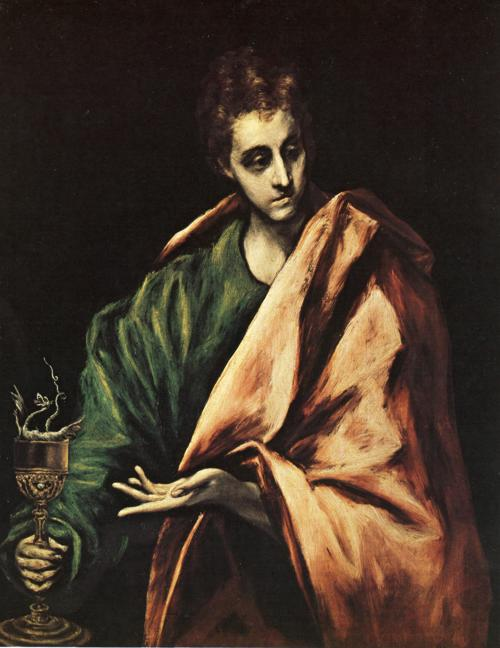 'St. John the Evangelist', Oil by El Greco - Dominikos Theotokopoulos (1541-1614, Spain)