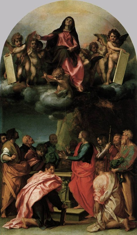 'Assumption of the Virgin 1', Oil by Andrea Del Sarto (1486-1530, Italy)