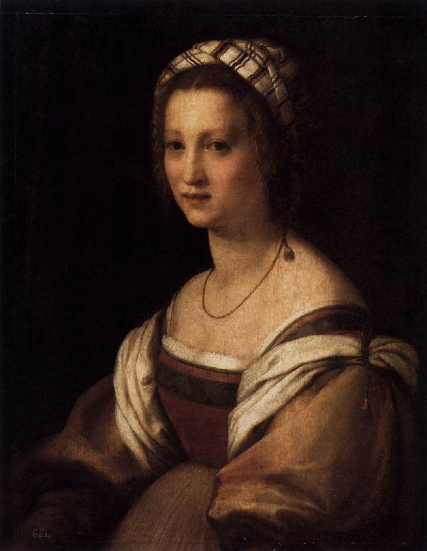 Portrait of the Artist`s Wife by Andrea Del Sarto (1486-1530, Italy) | Famous Paintings Reproductions | WahooArt.com