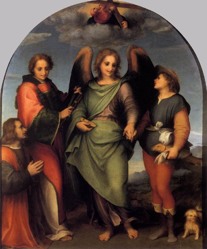 'Tobias and the Angel with St Leonard and Donor', Oil by Andrea Del Sarto (1486-1530, Italy)