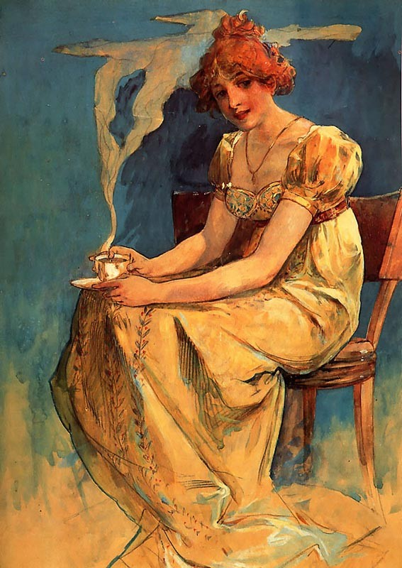 'Coffee', Oil by Alphonse Maria Mucha