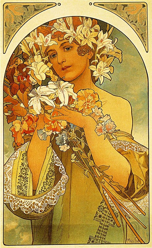 Flower by Alphonse Maria Mucha | Museum Quality Reproductions | WahooArt.com